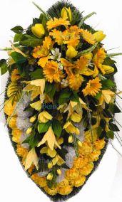 Фото - Ритуальный венок из искусственных цветов - Элитный #45 желтый из тюльпанов, гвоздик и зелени
