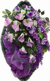 Фото - Ритуальный венок из искусственных цветов - Элитный #47 фиолетовый из роз, каллы и зелени