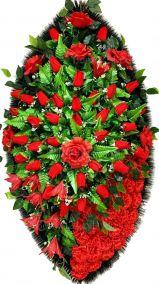 Фото - Ритуальный венок из искусственных цветов - Элитный #48 красный из роз, гвоздик и зелени
