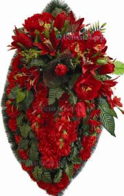 Фото - Ритуальный венок из искусственных цветов - Элитный #6 красный из лилий, гвоздик и зелени