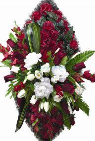 Фото - Ритуальный венок из искусственных цветов - Элитный #7 красный из гвоздик и роз