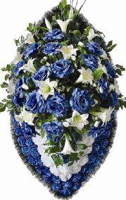 Фото - Ритуальный венок из искусственных цветов - Элитный #8 синий из гвоздик и лилий