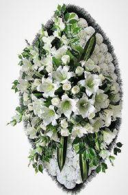 Фото - Ритуальный венок из искусственных цветов - Элитный #9 белый из лилий, роз, гвоздик и зелени