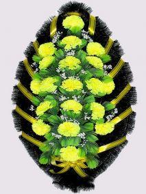 Фото - Ритуальный венок из искусственных цветов #1 желтый из гвоздик и зелени
