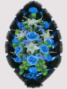 Фото - Ритуальный венок из искусственных цветов #10 синий из гвоздик и зелени