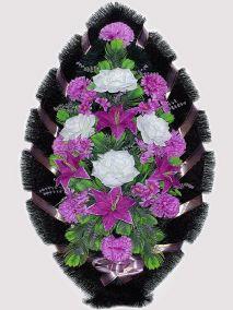 Фото - Ритуальный венок из искусственных цветов #11 фиолетовый из лилий, гвоздик и зелени