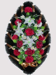 Фото - Ритуальный венок из искусственных цветов #13 красно-белый из роз, лилий и зелени
