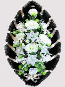 Фото - Ритуальный венок из искусственных цветов #14 белый из лилий, гвоздик и зелени