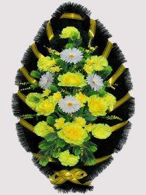 Фото - Ритуальный венок из искусственных цветов #15 желто-белый из роз, гвоздик и зелени