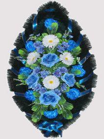 Фото - Ритуальный венок из искусственных цветов #16 сине-белый из роз, гвоздик и зелени