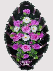 Фото - Ритуальный венок из искусственных цветов #17 фиолетово-белый из роз, гвоздик и зелени