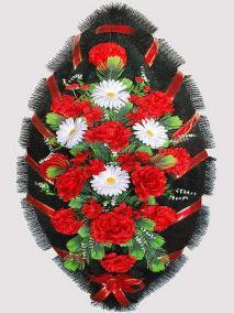 Фото - Ритуальный венок из искусственных цветов #18 красно-белый из роз, гвоздик и зелени