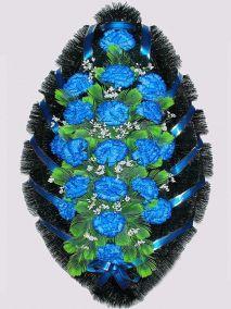 Фото - Ритуальный венок из искусственных цветов #2 синий из гвоздик и зелени