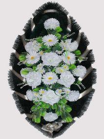 Фото - Ритуальный венок из искусственных цветов #20 белый из гвоздик, роз и зелени