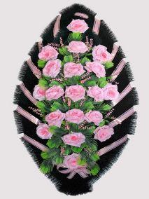 Фото - Ритуальный венок из искусственных цветов #21 розовый из роз и зелени