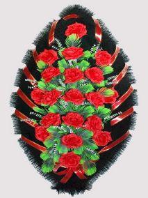 Фото - Ритуальный венок из искусственных цветов #22 красный из роз и зелени