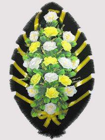 Фото - Ритуальный венок из искусственных цветов #23 желто-белый из роз и зелени