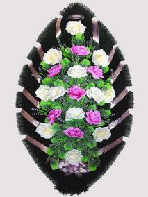 Фото - Ритуальный венок из искусственных цветов #24 фиолетово-белый из роз и зелени
