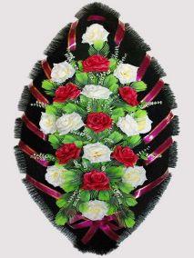 Фото - Ритуальный венок из искусственных цветов #26 красно-белый из роз и зелени