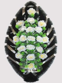 Фото - Ритуальный венок из искусственных цветов #27 белый из роз и зелени