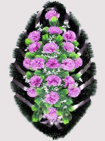 Фото - Ритуальный венок из искусственных цветов #3 фиолетовый из гвоздик и зелени