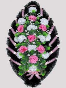 Фото - Ритуальный венок из искусственных цветов #5 розово-белый из гвоздик и зелени