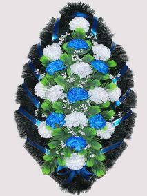 Фото - Ритуальный венок из искусственных цветов #6 сине-белый из гвоздик и зелени