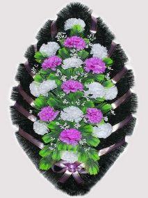 Фото - Ритуальный венок из искусственных цветов #7 фиолетово-белый из гвоздик и зелени