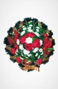 Фото - Ритуальный венок Круг бело-красный