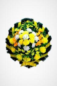 Фото - Ритуальный венок Круг желтый из роз, хризантем, гладиолусов