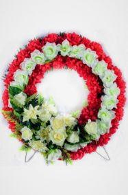 Фото - Ритуальный венок Круг из белых роз, лилий и красных гвоздик