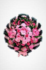 Фото - Ритуальный венок Круг розовый хризантемы, гладиолусы и розы