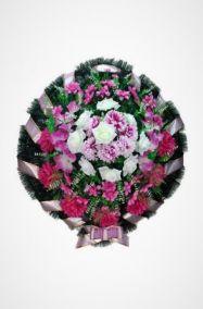 Фото - Ритуальный венок Круг с сиреневыми розами и хризантемами