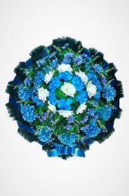 Фото - Ритуальный венок Круг синий хризантемы, розы и гладиолусы