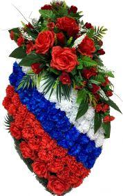 Фото - Ритуальный венок на возложение #13 Триколор из гвоздик и красные розы