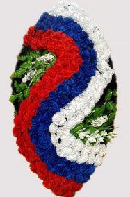 Фото - Ритуальный венок на возложение #17 Триколор из гвоздик волной
