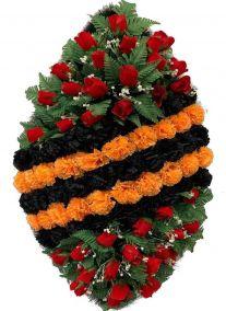 Фото - Ритуальный венок на возложение #2 Георгиевская лента из гвоздик и роз
