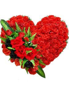 Фото - Ритуальный венок Сердце с красными розами, лилиями и гвоздиками