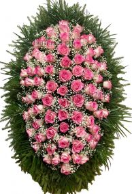 Фото - Траурный венок из живых цветов #24 розовый с розами и гипсофилой
